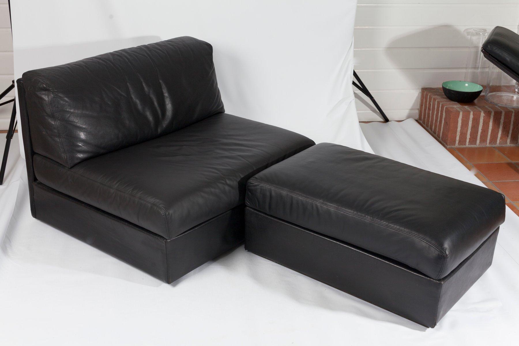 modulares schwarzes ledersofa 1980er bei pamono kaufen. Black Bedroom Furniture Sets. Home Design Ideas