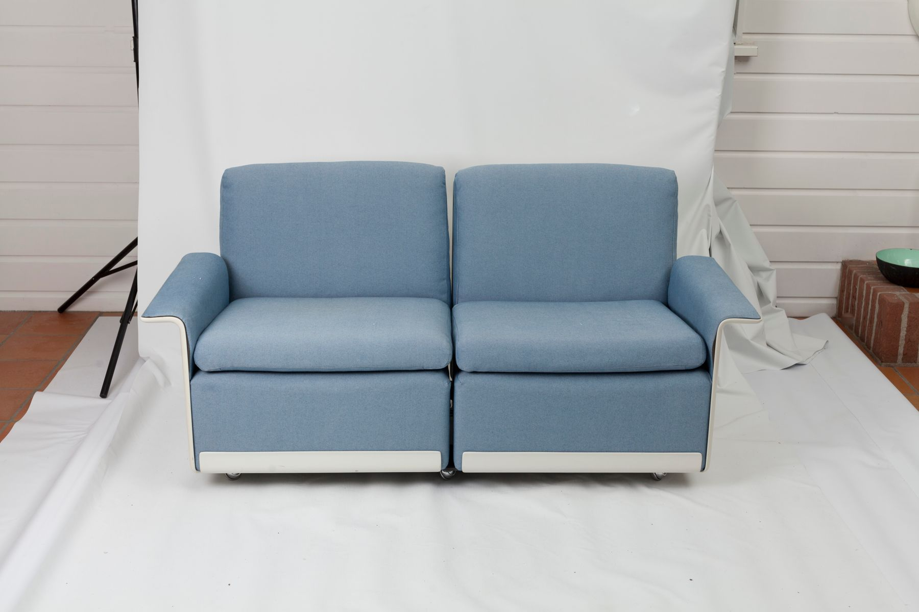 RZ62 Azure & White Modular Sofas by Dieter Rams for Vitsoe 1962