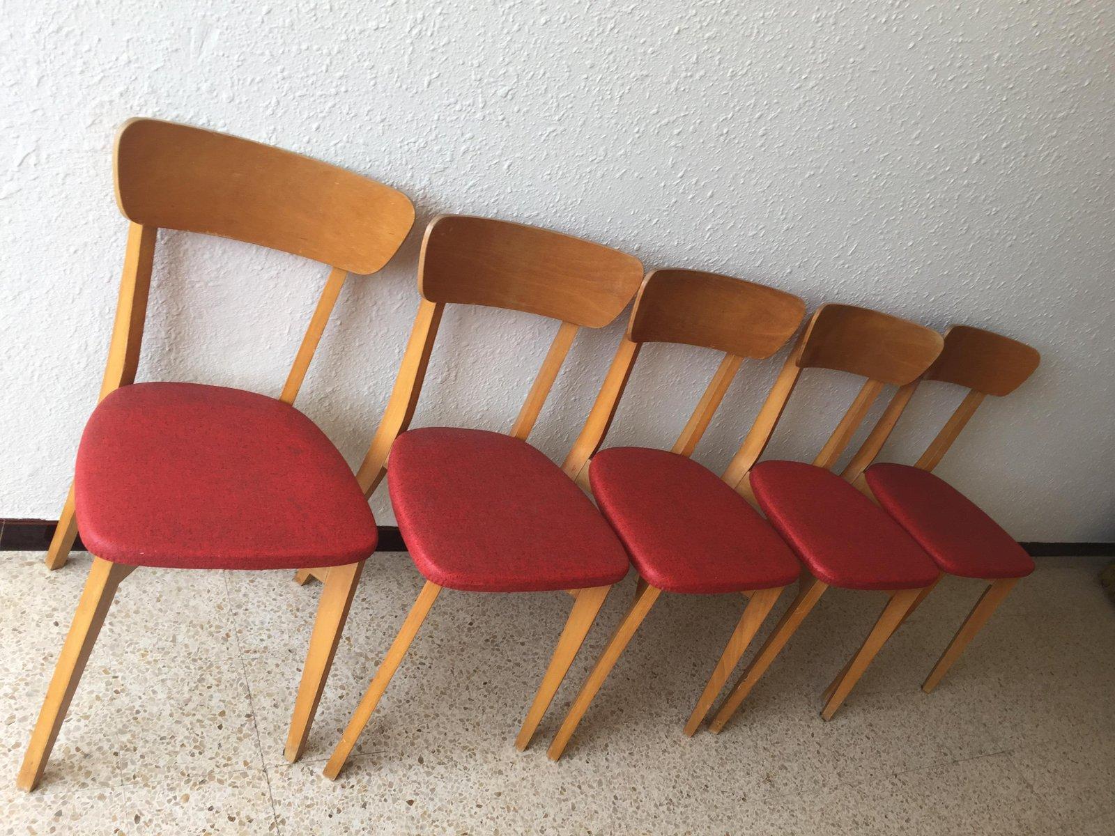 st hle aus holz rotem skai 1960er 5er set bei pamono kaufen. Black Bedroom Furniture Sets. Home Design Ideas