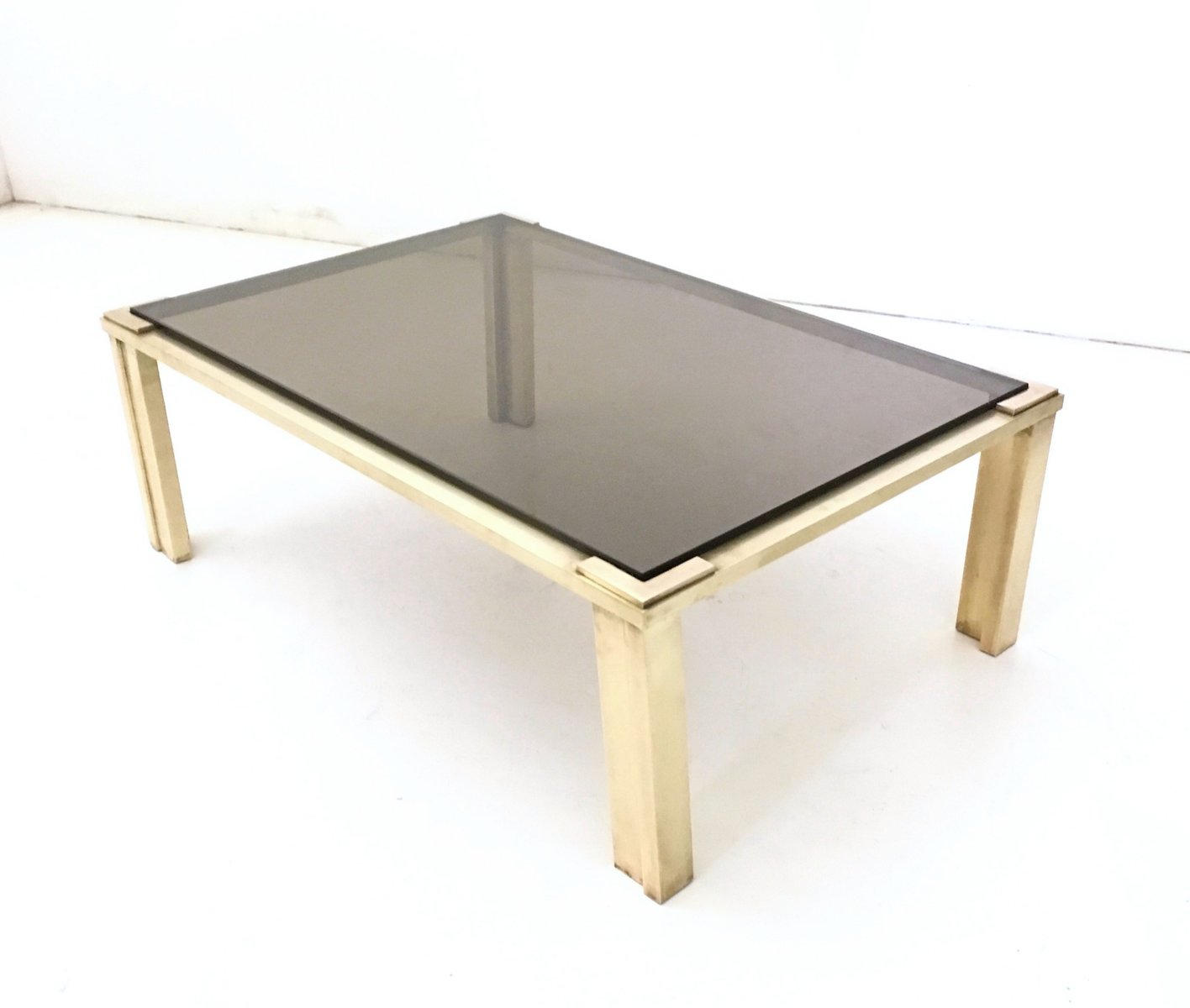 Brass Coffee Table With A Smoked Glass Top 1970s For Sale At Pamono
