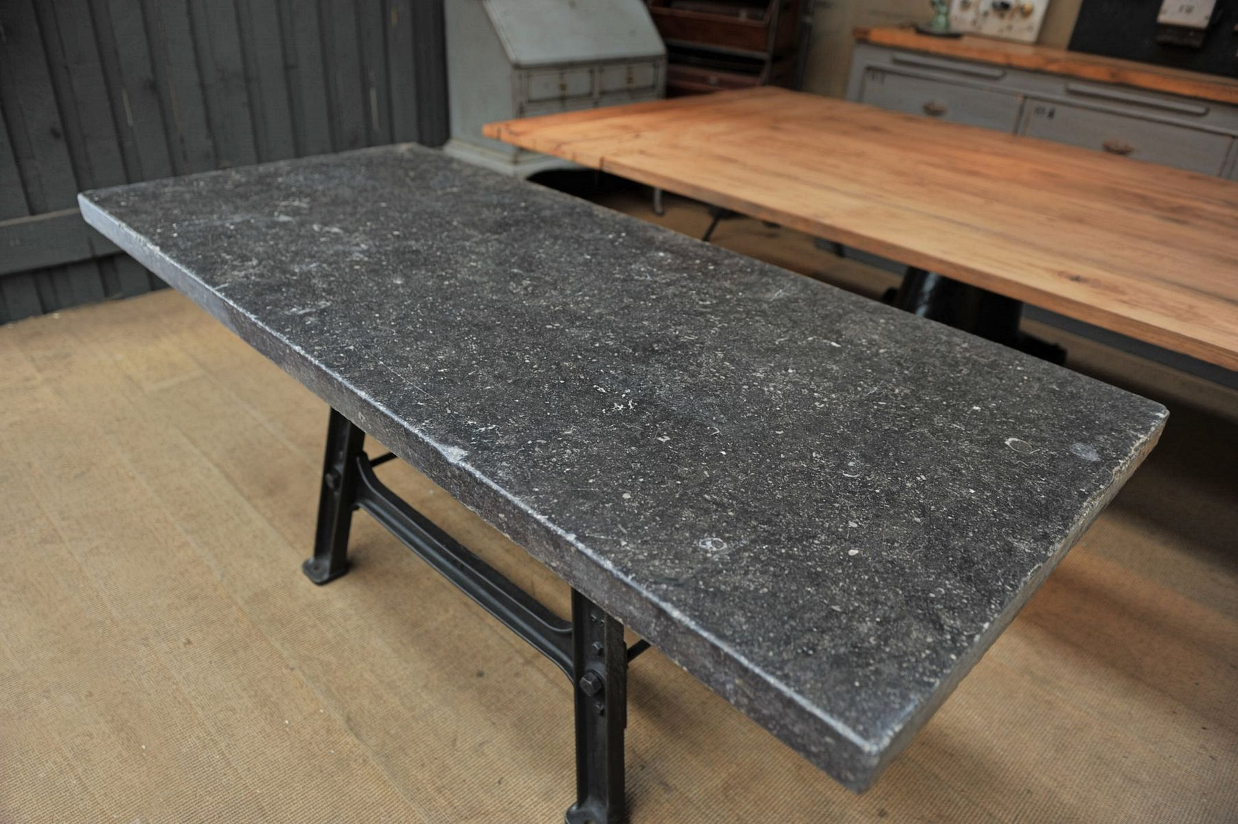 Industrial console table with stone top 1920s for sale at pamono industrial console table with stone top 1920s geotapseo Gallery