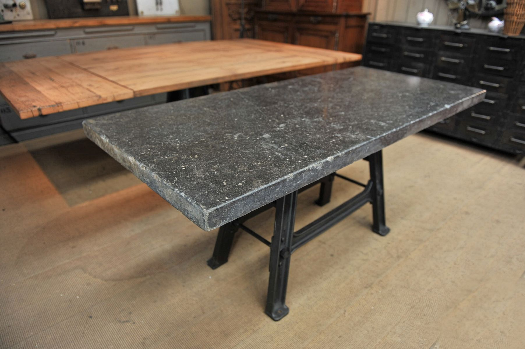 Industrial console table with stone top 1920s for sale at pamono industrial console table with stone top 1920s 7 296000 price per piece geotapseo Gallery