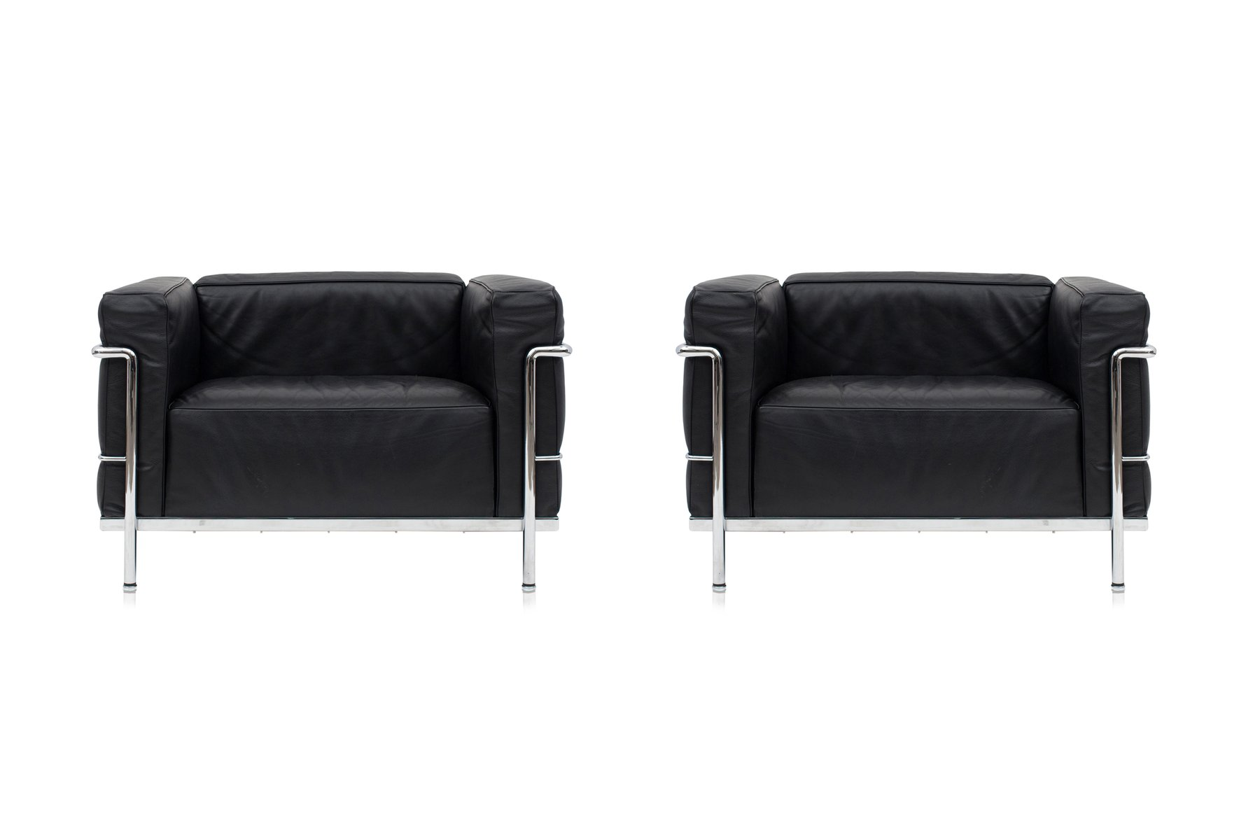 LC3 Black Poltrona Lounge Chairs from Le Corbusier for Cassina
