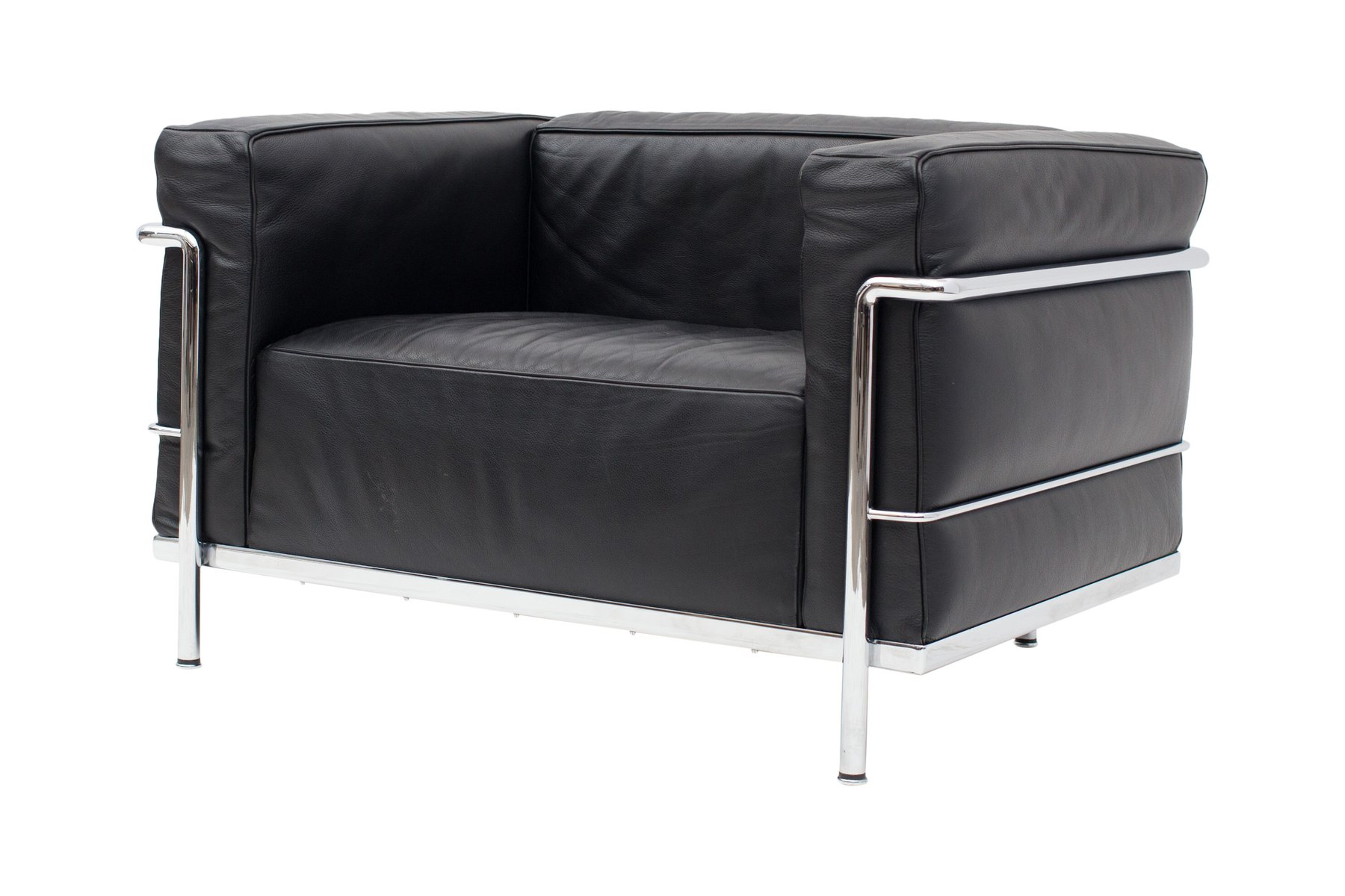 schwarze lc3 poltrona sessel von le corbusier f r cassina 1965 2er set bei pamono kaufen. Black Bedroom Furniture Sets. Home Design Ideas