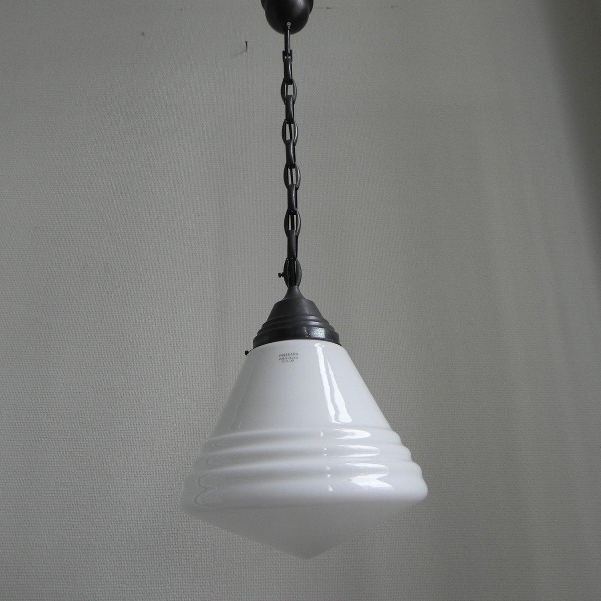 art deco h ngelampe mit gro er glaskugel von philips bei pamono kaufen. Black Bedroom Furniture Sets. Home Design Ideas