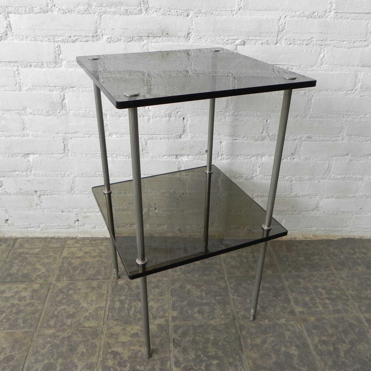 Vintage Glass Side Table ~ Vintage side table with glass plates for sale at pamono
