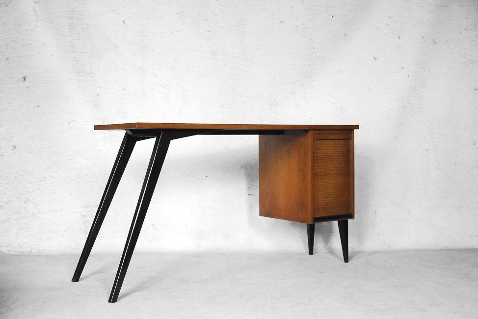 mid century schreibtisch mit katalog rollschrank 1960er bei pamono kaufen. Black Bedroom Furniture Sets. Home Design Ideas