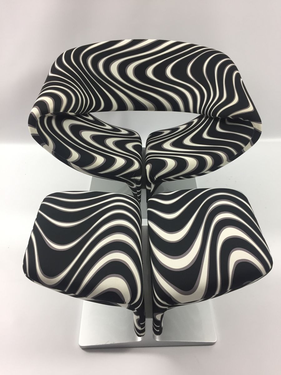 Black And White Pouf Mid Century Ribbon Chair With Pouf By Pierre Paulin For Artifort