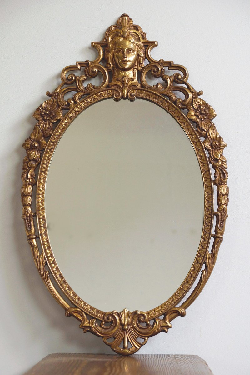 Antique Oval Brass Mirror For Sale At Pamono