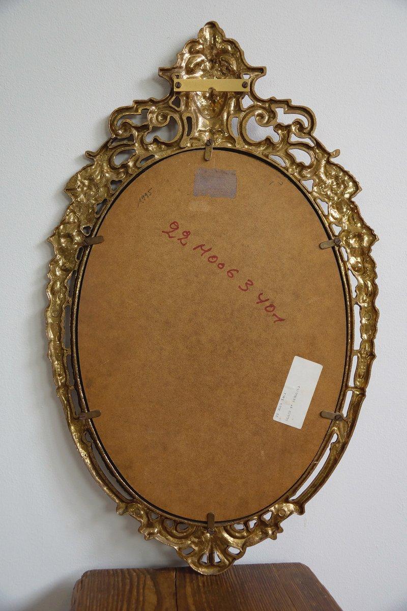 antiker ovaler spiegel mit messingrahmen bei pamono kaufen. Black Bedroom Furniture Sets. Home Design Ideas