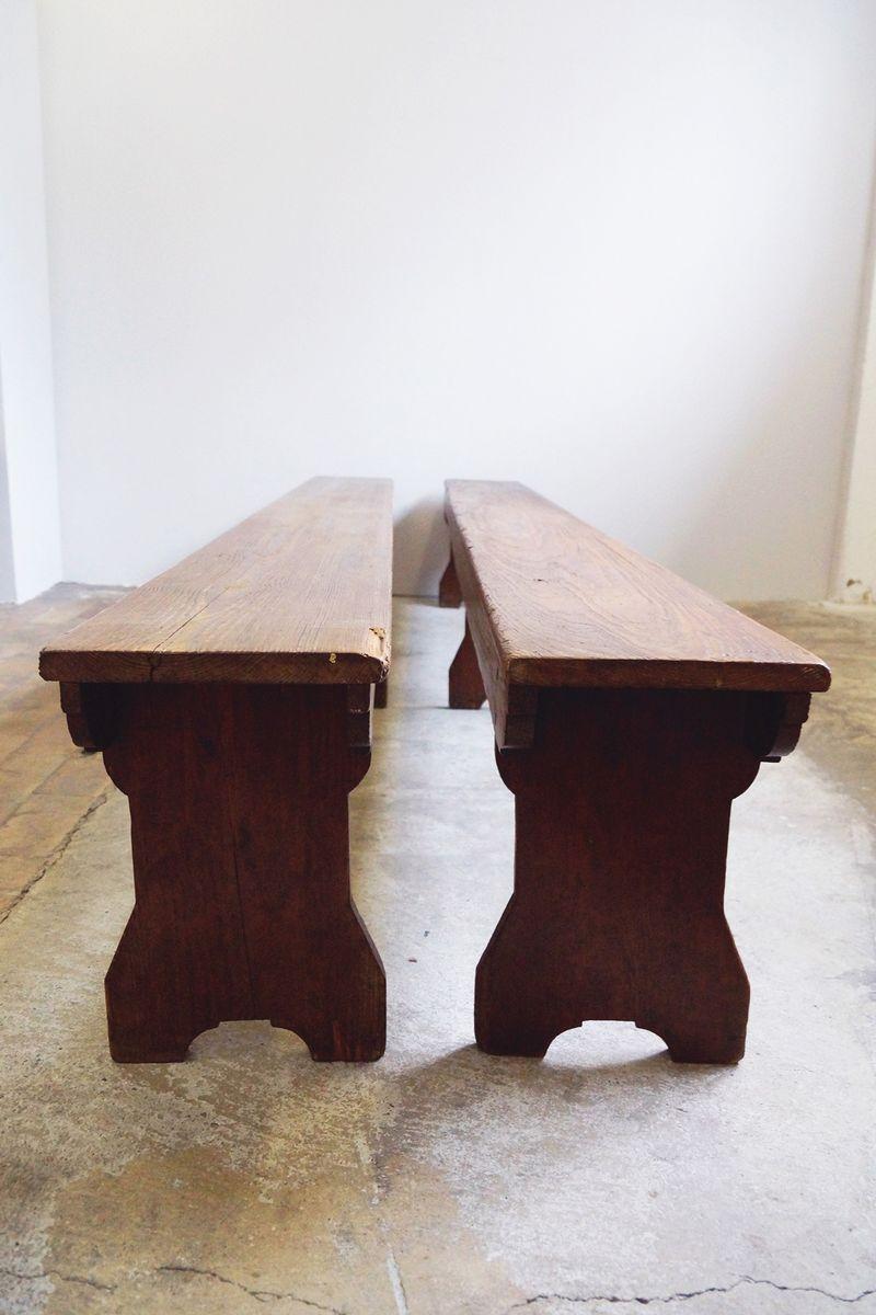 antike b nke aus weichholz 2er set bei pamono kaufen. Black Bedroom Furniture Sets. Home Design Ideas