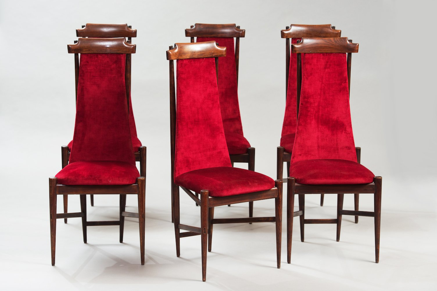High Back Dining Chairs, Set Of 6 For Sale At Pamono