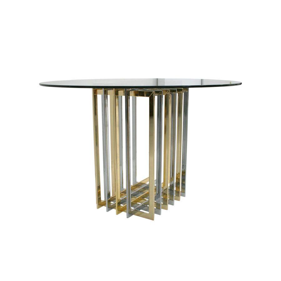 vintage tisch aus metall glas bei pamono kaufen. Black Bedroom Furniture Sets. Home Design Ideas