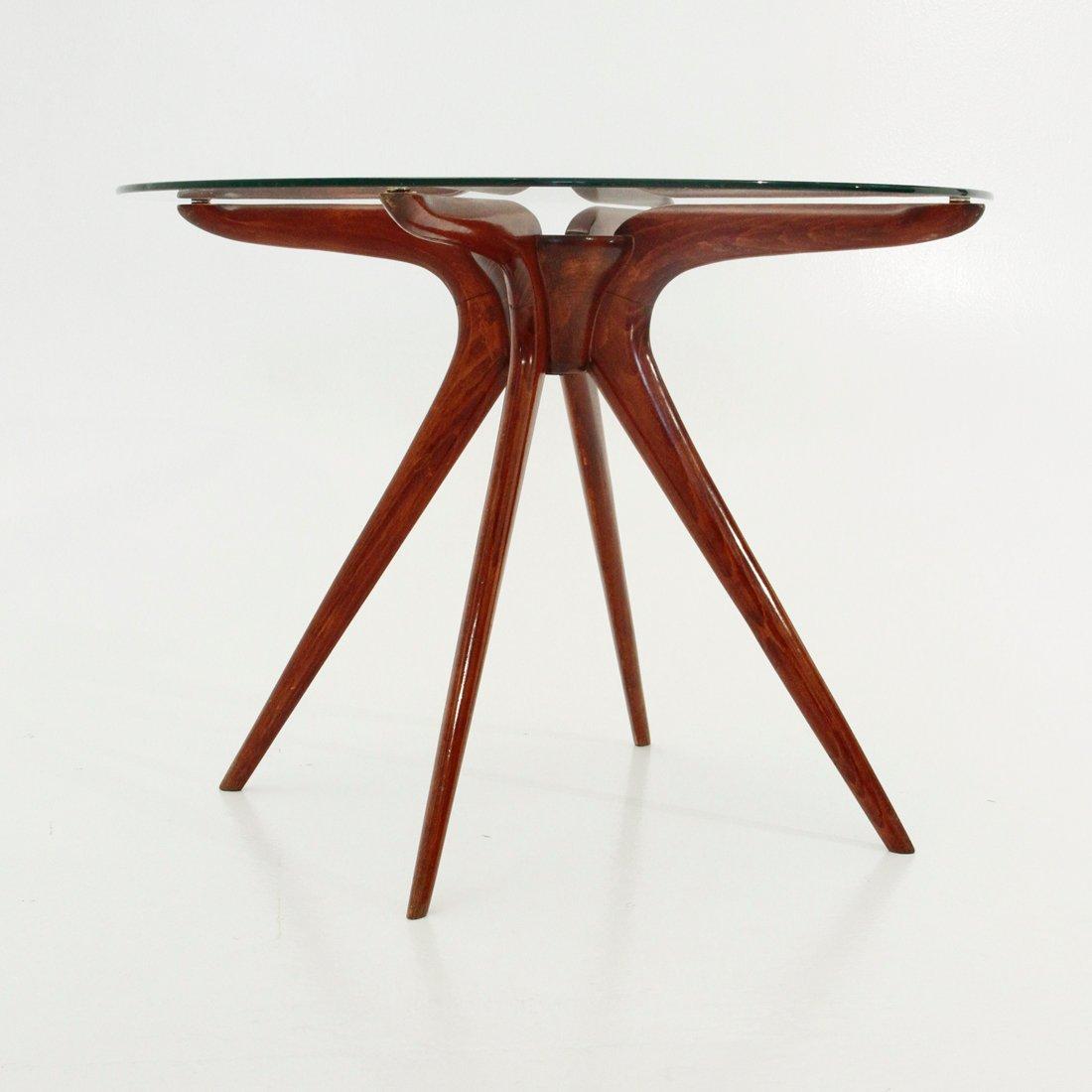 italienischer couchtisch aus holz und glas 1950er bei. Black Bedroom Furniture Sets. Home Design Ideas