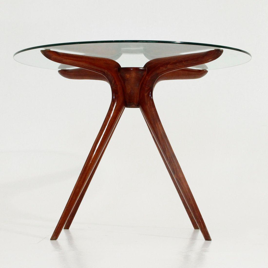 italienischer couchtisch aus holz und glas 1950er bei pamono kaufen. Black Bedroom Furniture Sets. Home Design Ideas