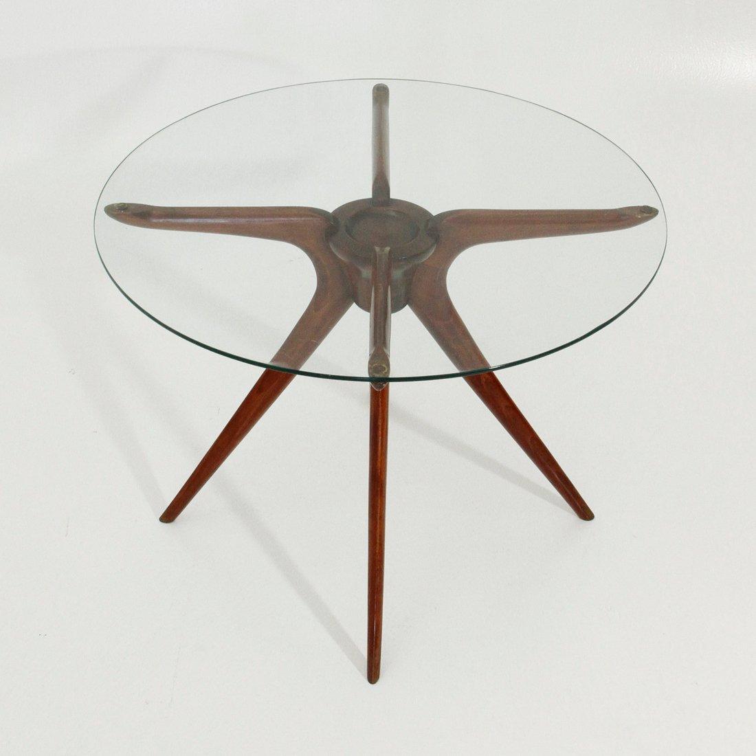 Italian Wood & Glass Coffee Table 1950s for sale at Pamono