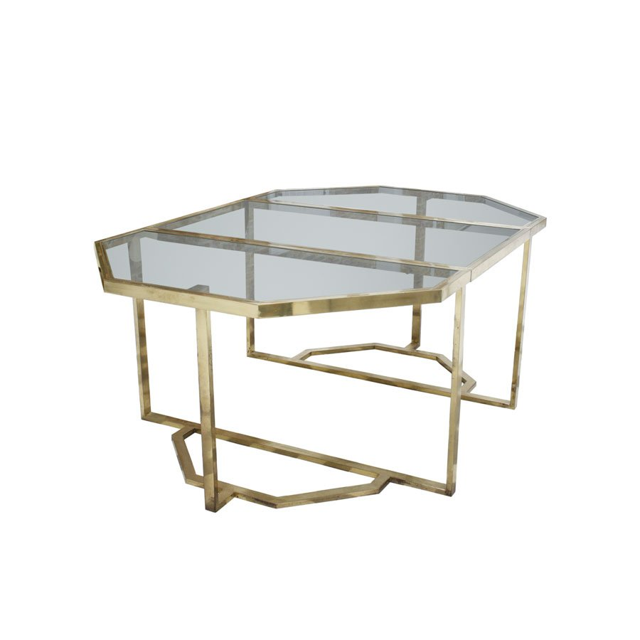 Metal And Glass Dining Table 1970s For Sale At Pamono