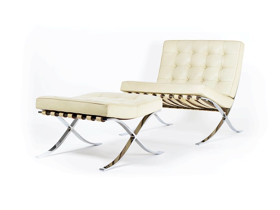 vintage barcelona chair and ottoman by ludwig mies van der rohe for knoll for sale at pamono. Black Bedroom Furniture Sets. Home Design Ideas