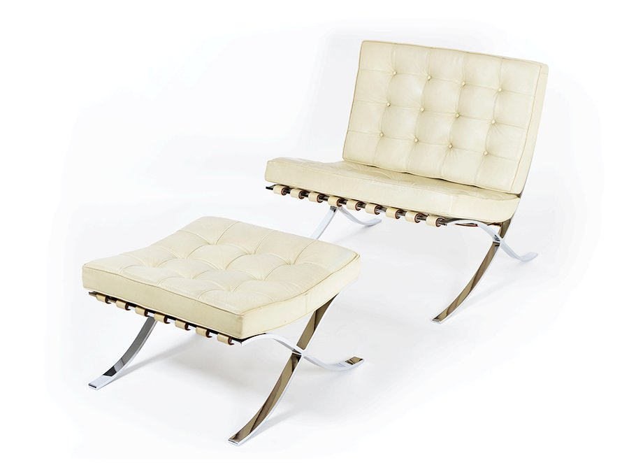 vintage barcelona chair and ottoman by ludwig mies van der. Black Bedroom Furniture Sets. Home Design Ideas