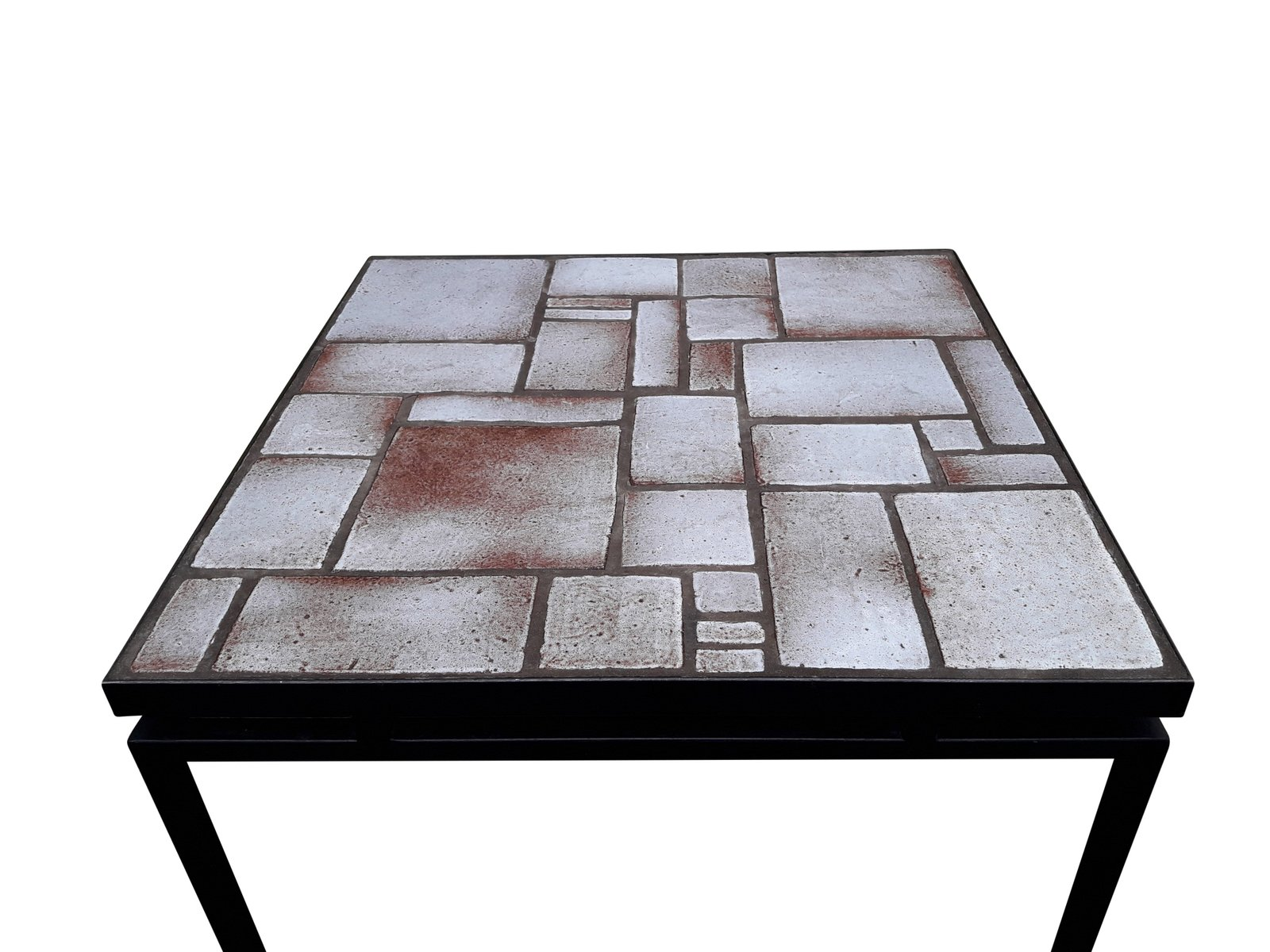Mid century white and beige ceramic coffee table on painted metal price per piece geotapseo Image collections