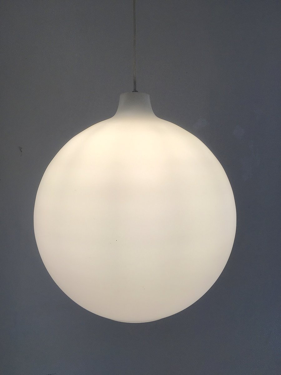 Large Opaline Glass Pendant Lamp By Wilhelm Volhert For