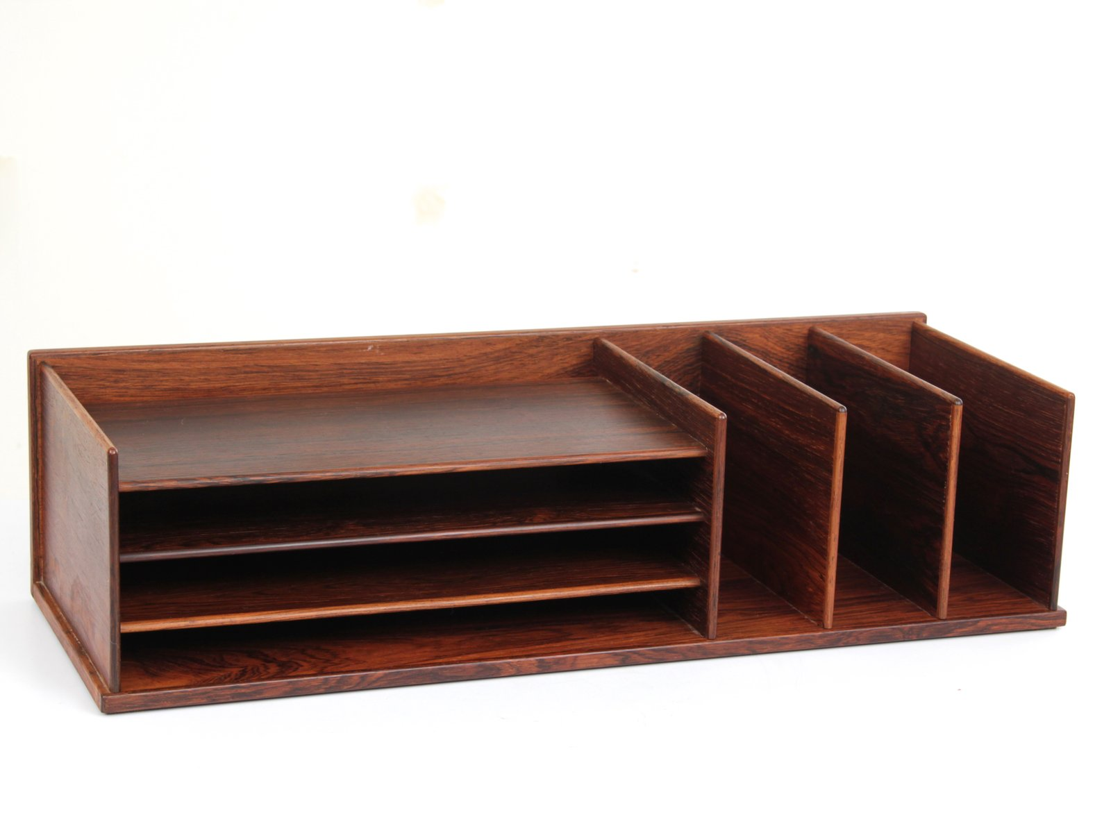 Mid Century Modern Desk Top Organizer In Rio Rosewood From