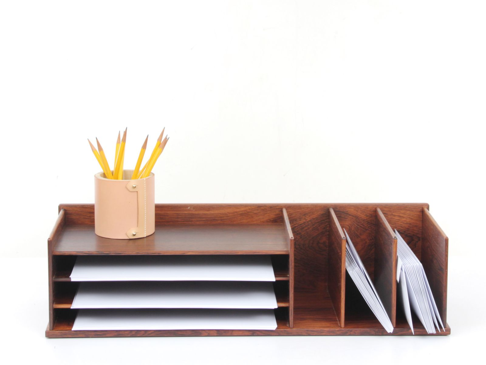 previous. midcentury modern desk top organizer in rio rosewood from georg