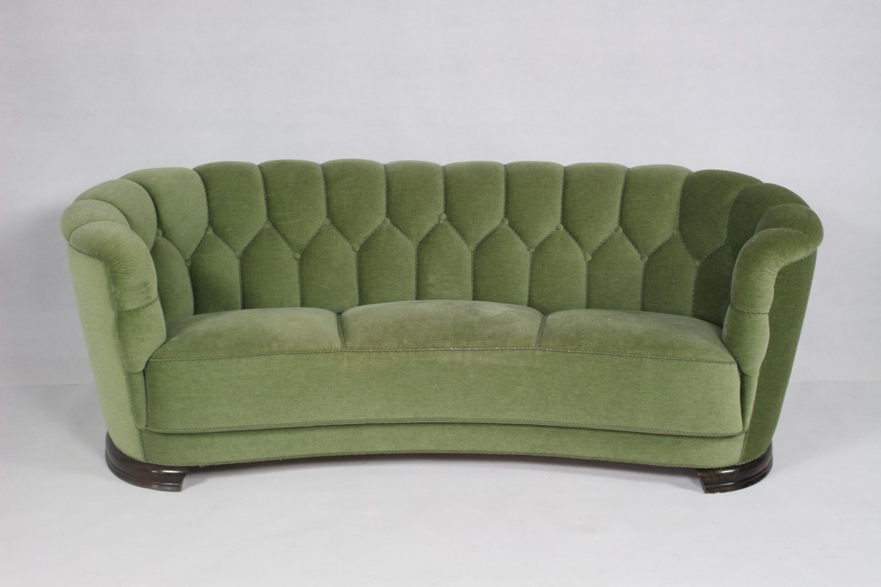 Mid century modern danish green curved sofa for sale at pamono Curved loveseat sofa