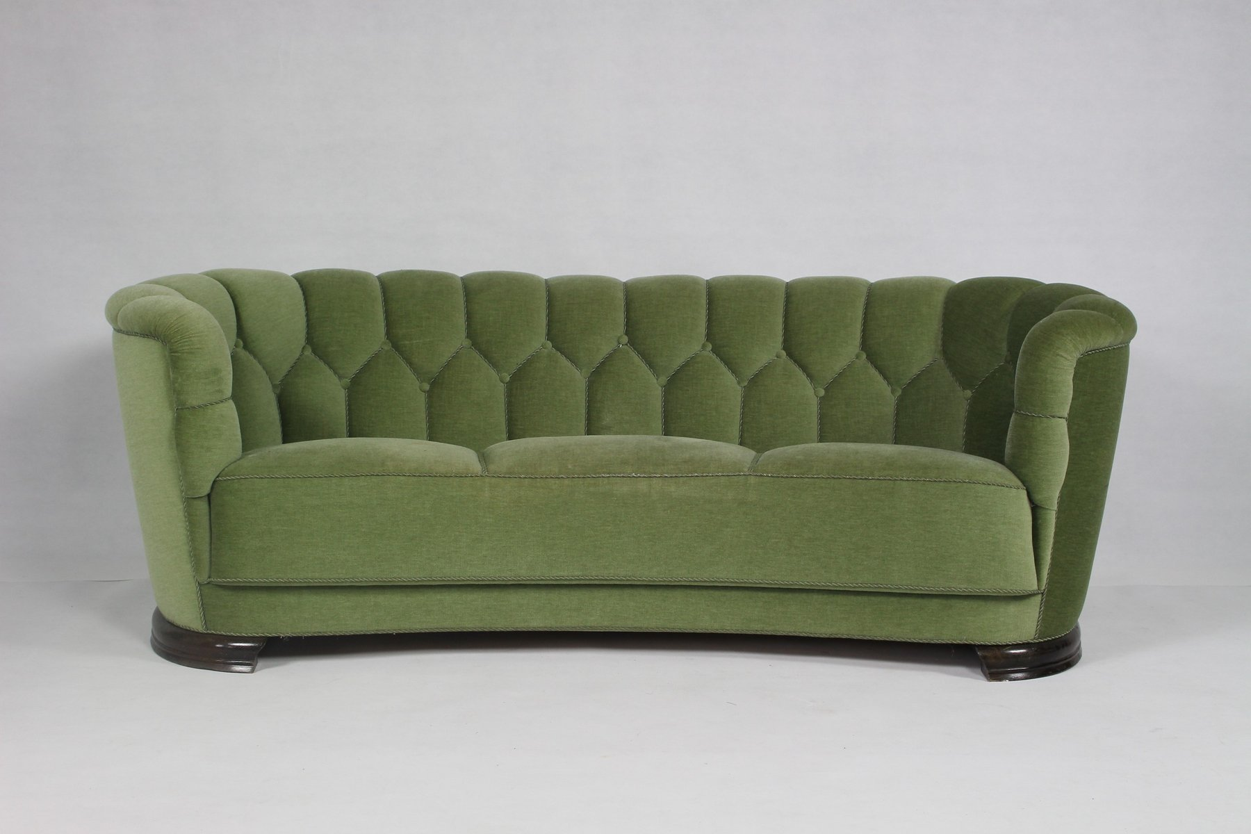 Mid Century Modern Danish Green Curved Sofa for sale at Pamono