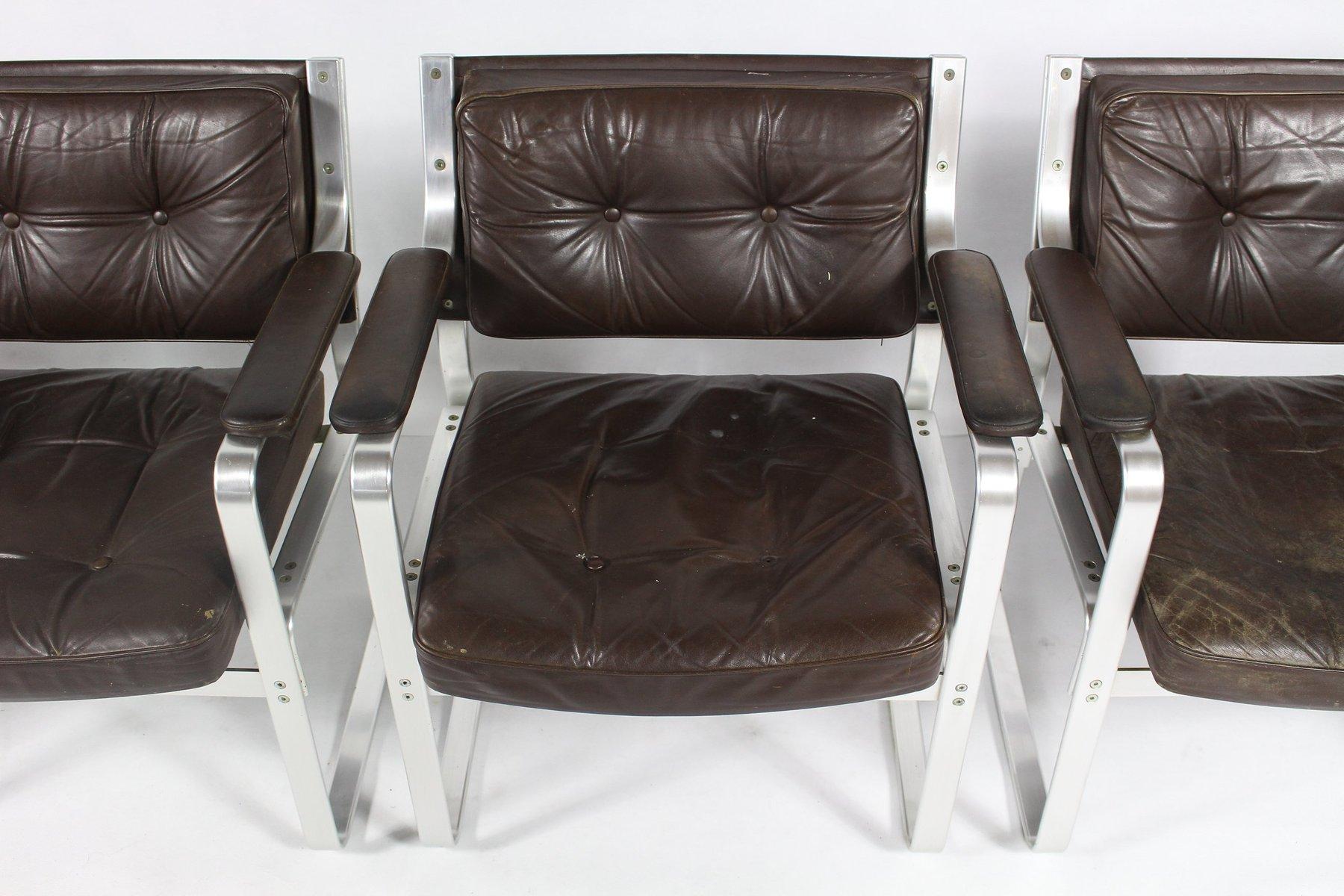 mid century mondo sessel aus aluminium leder von karl. Black Bedroom Furniture Sets. Home Design Ideas