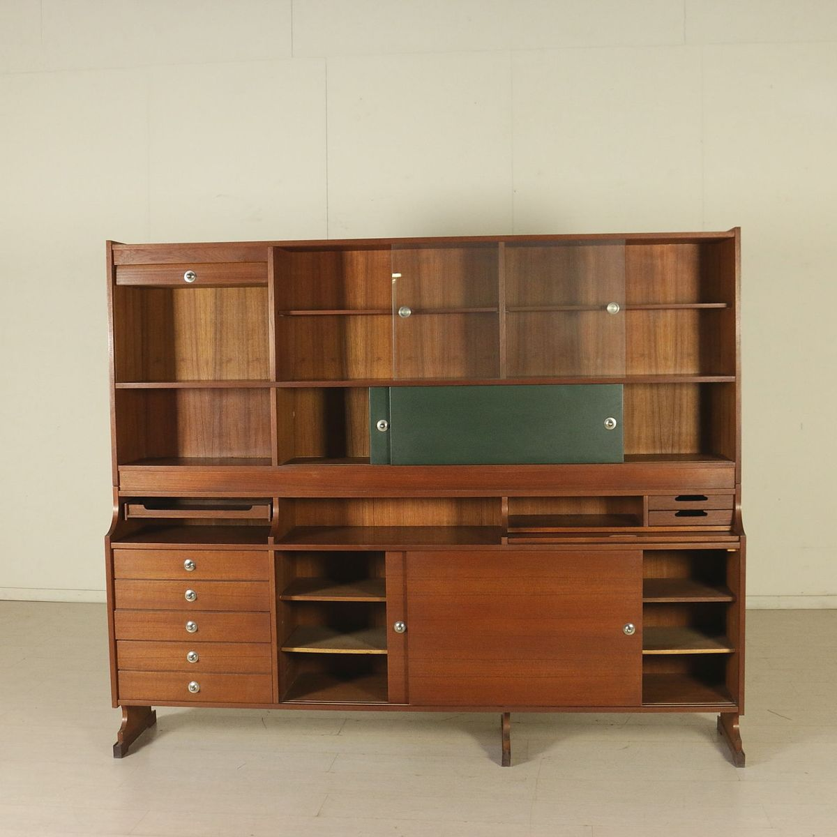 Italian cabinet in teak veneer glass and leatherette for Italian cabinets