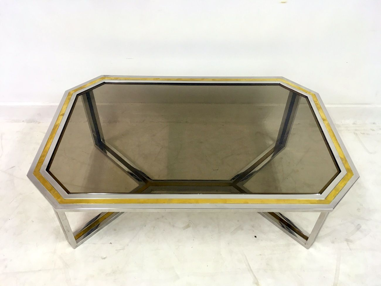 Chrome and Brass Coffee Table by Romeo Rega 1970s for sale at Pamono