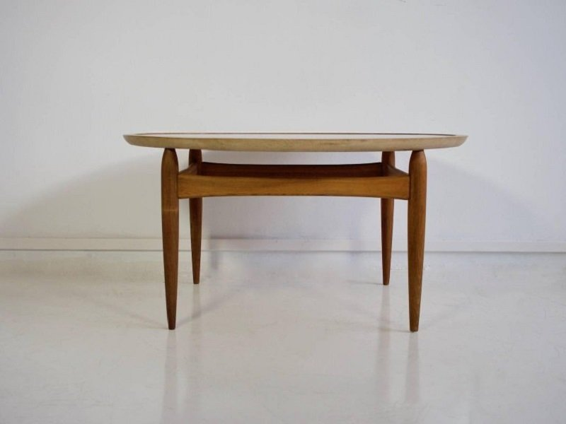 Mid Century Round Oak Coffee Table By Ludvig Pontoppidan For Sale At Pamono