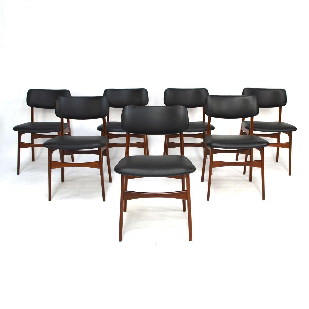 Chaises de salon scandinaves en teck et cuir 1960s set for Chaise cuir salon