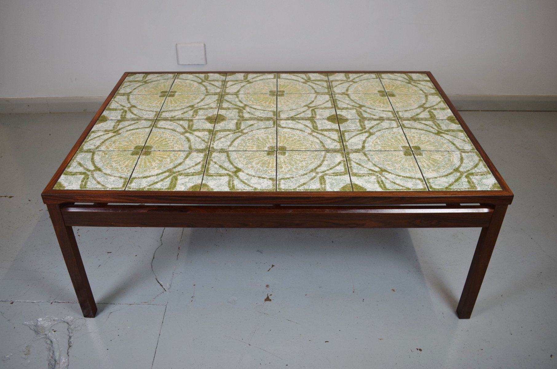 Mid Century Danish Rosewood Tile Topped Coffee Table for sale at