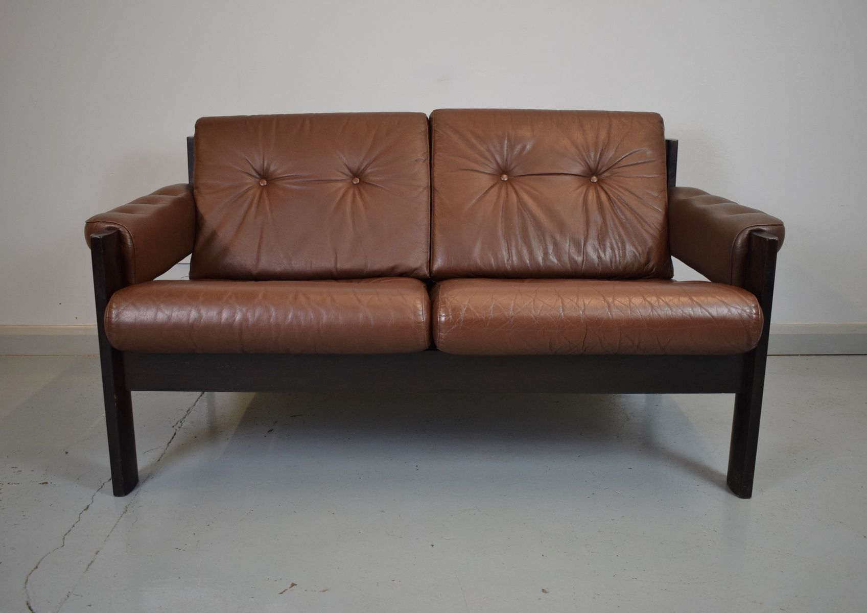 Mid Century Danish Brown Leather 2 Seater Sofa 1970s For