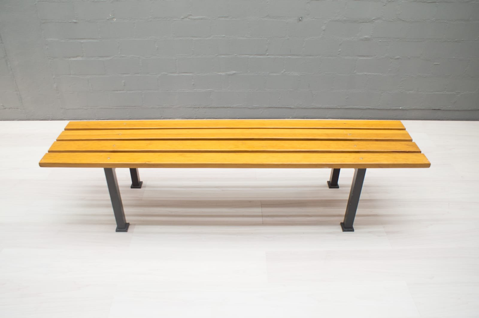 Puristic Pine Slat Bench On Square Metal Frame, 1960s