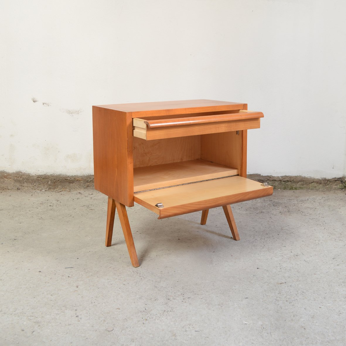 Small Wooden Cabinet with Compass Feet, 1960s for sale at Pamono
