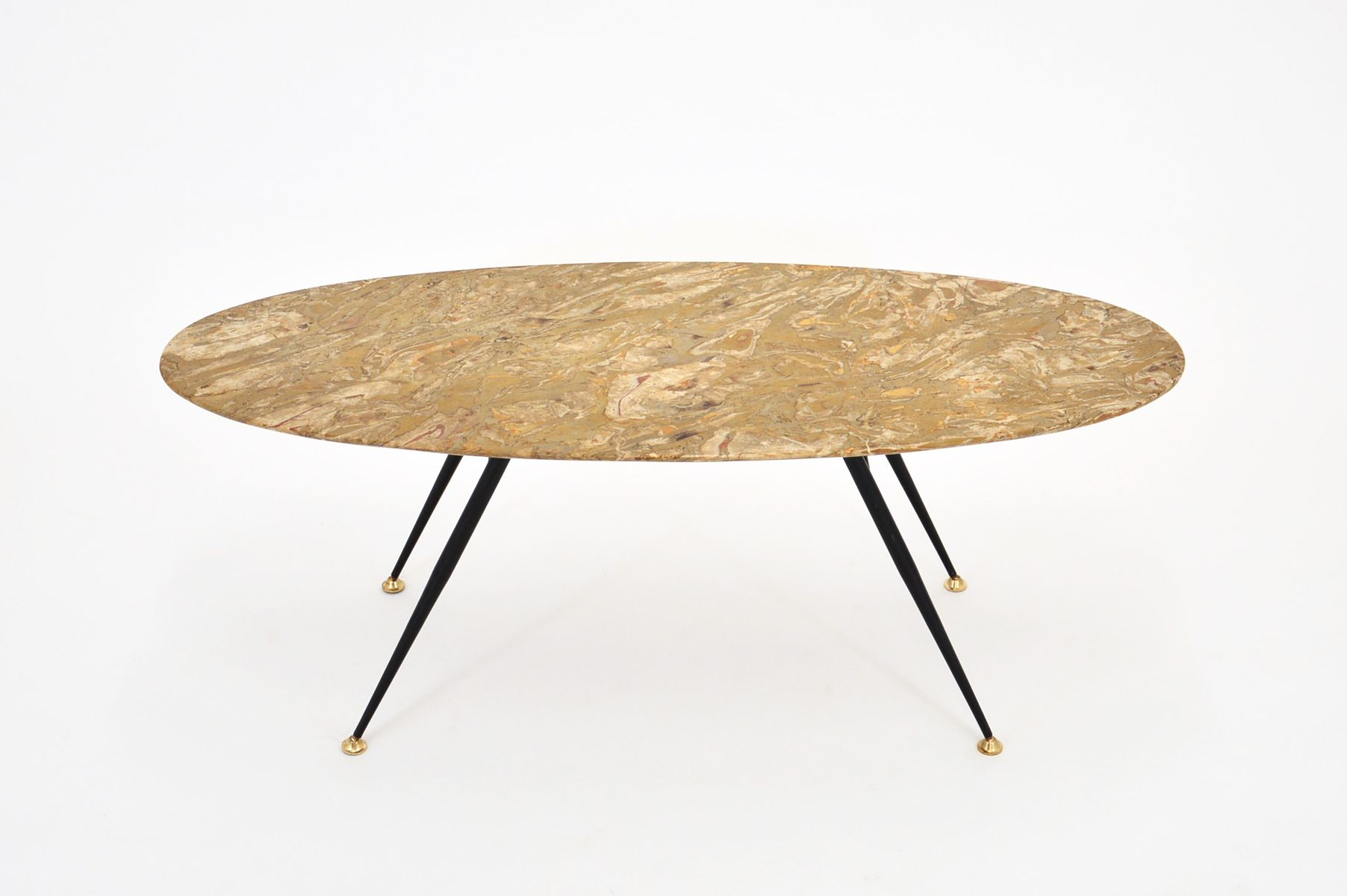 Italian stone metal coffee table 1950s for sale at pamono for Metal and stone coffee table