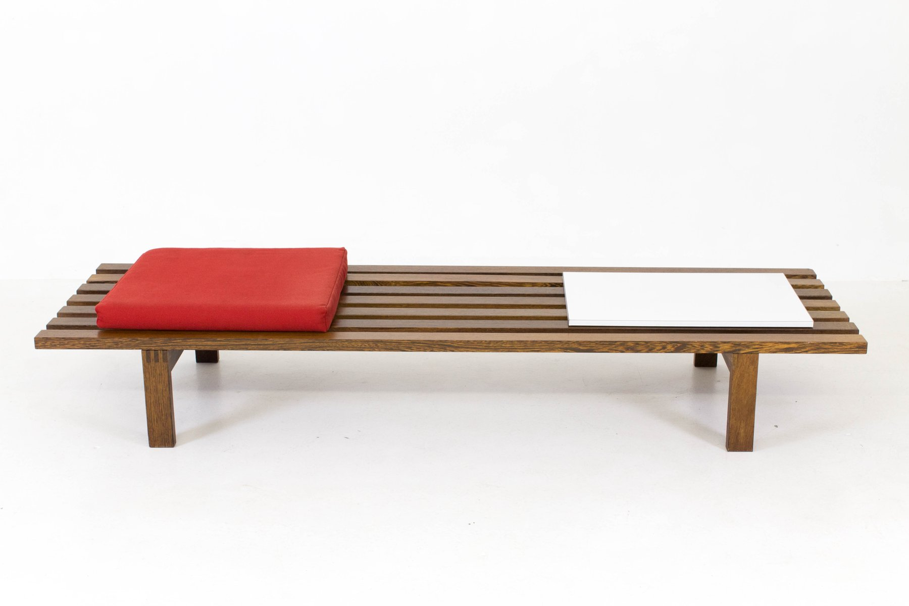 Mid Century Large Modern Slat Bench By Martin Visser For