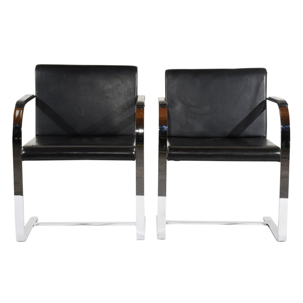 Mid-Century Modern Flatbar Brno Chairs by Mies van der Rohe, 48s ... | furniture shops brno