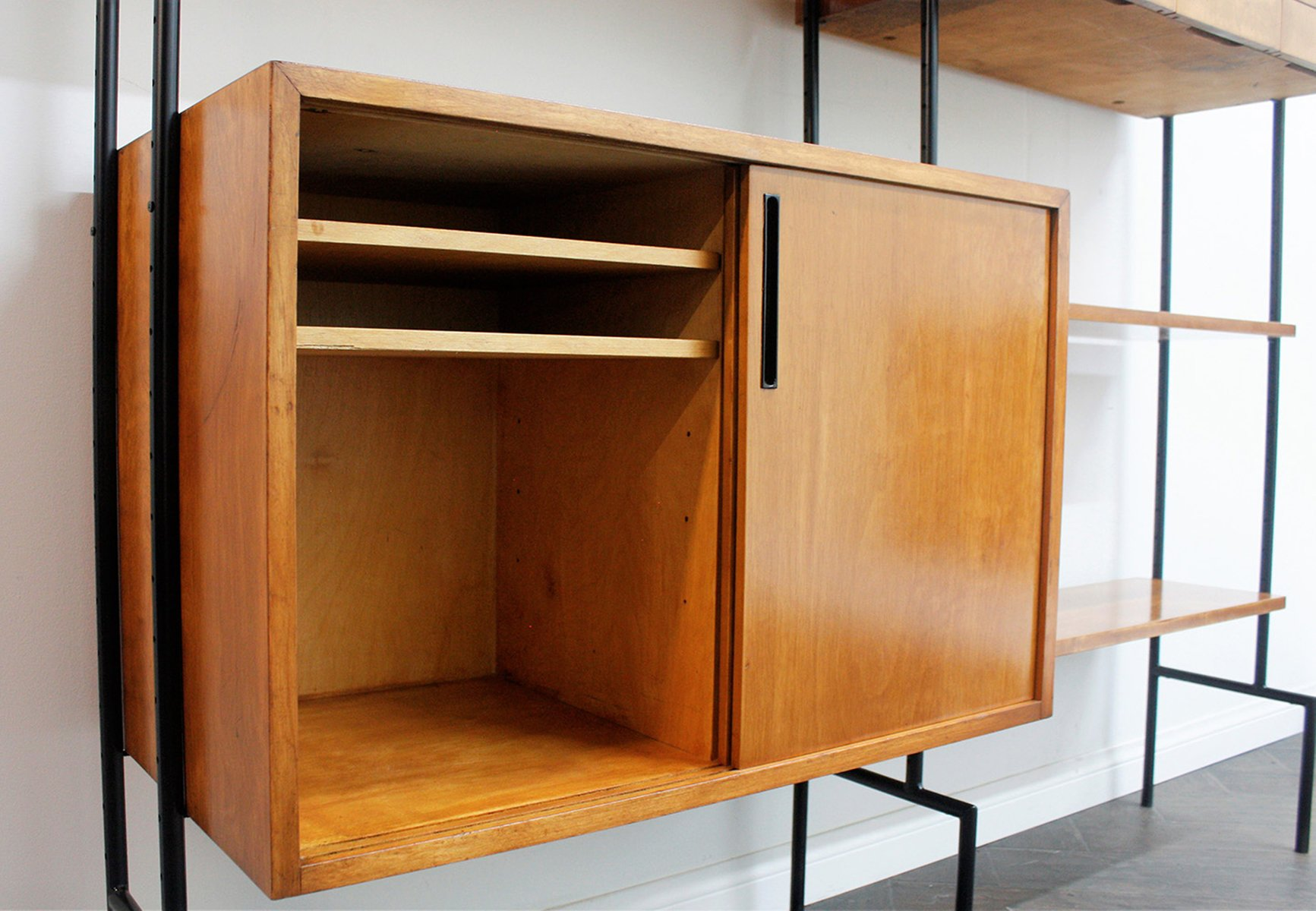 mid century modern black hairpin wall unit for sale at pamono. Black Bedroom Furniture Sets. Home Design Ideas