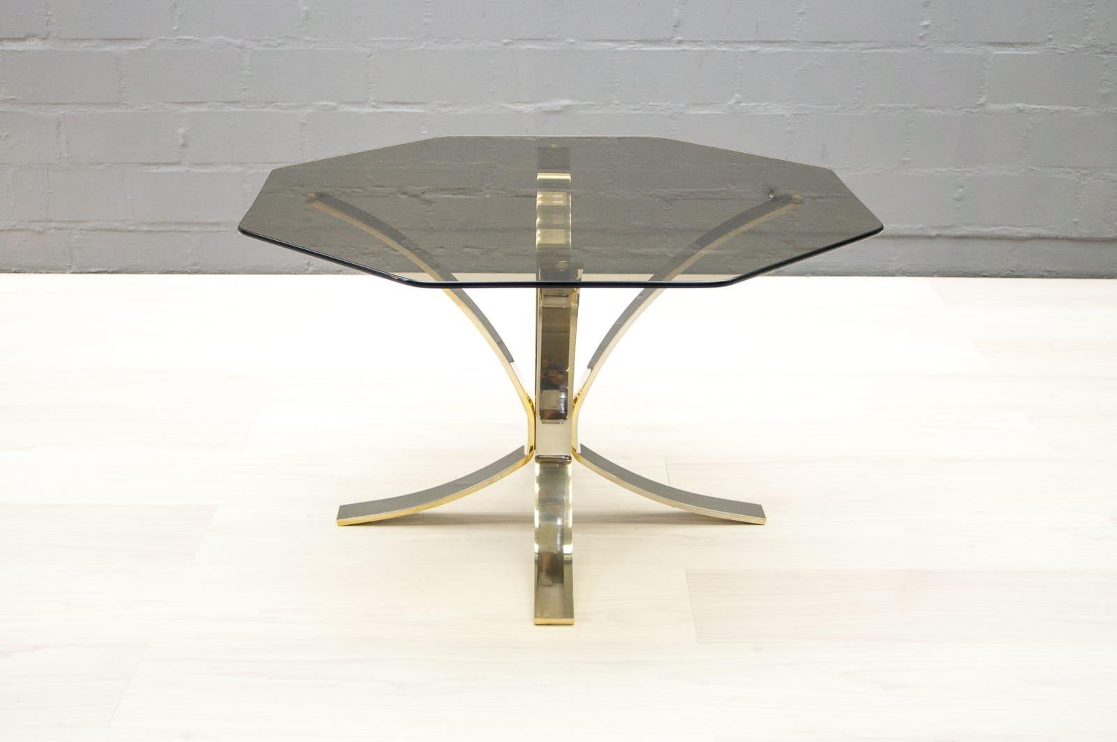 Vintage Brass U0026 Smoked Glass Coffee Table, 1960s
