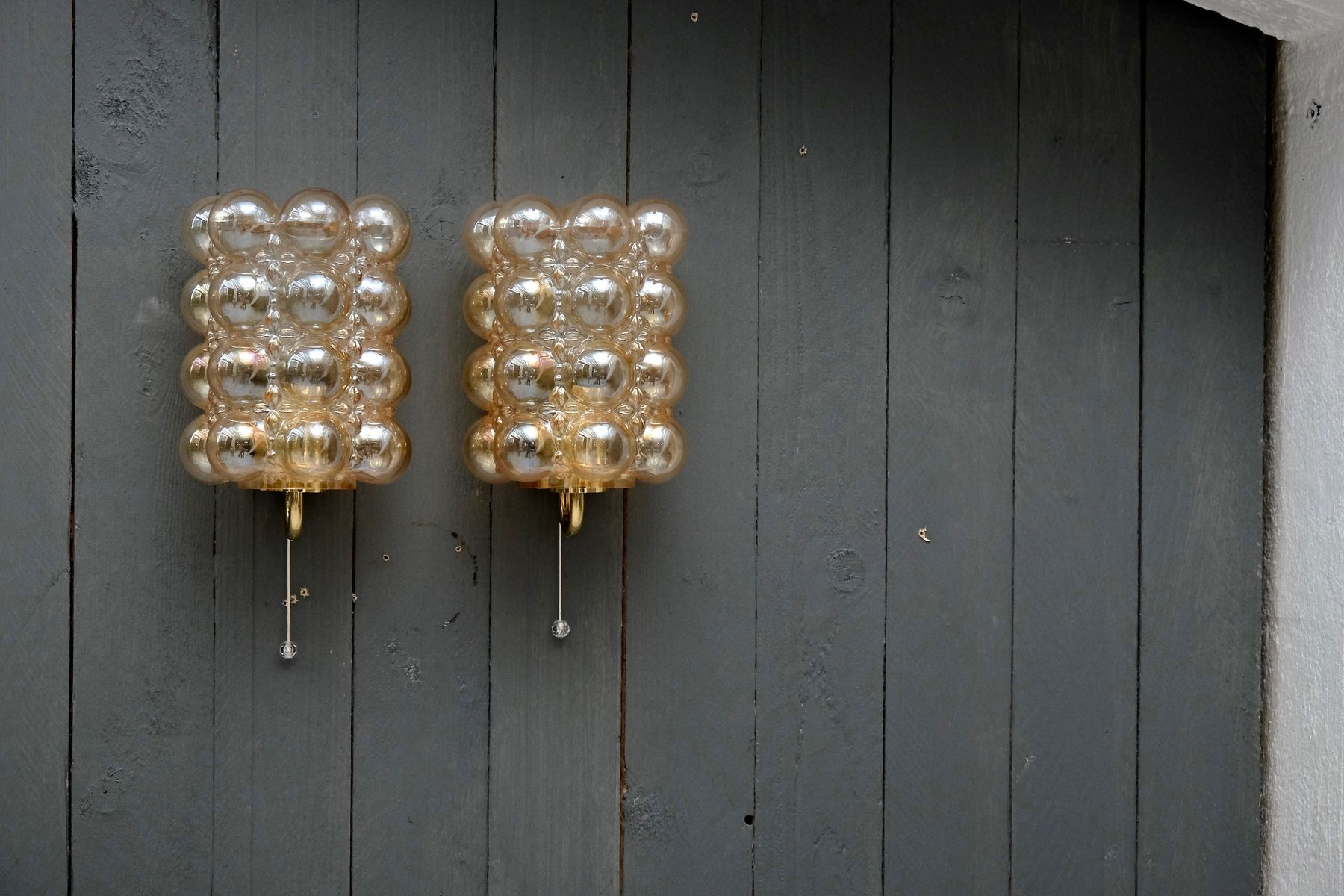 Amber Glass Wall Lights : Brass & Amber Glass Wall Lights by Helena Tynell for Glashutte Limburg, 1960s, Set of 2 for sale ...