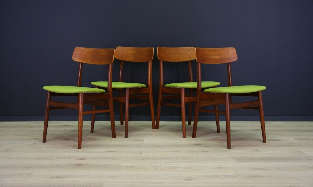 Mid Century Danish Teak Chairs, Set Of 4