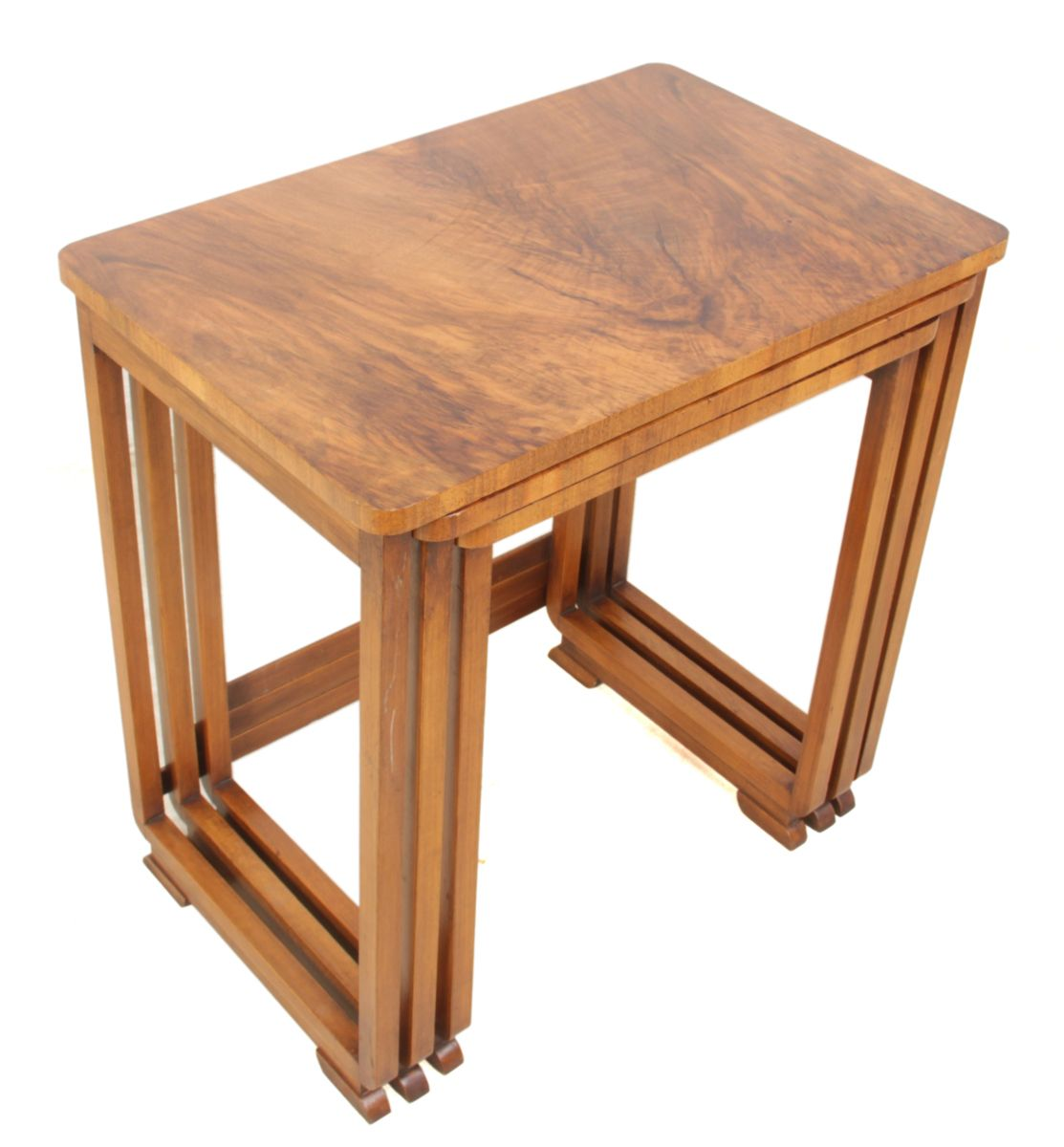 Art deco walnut nesting tables 1930s set of 3 for sale for Meuble art deco 1930