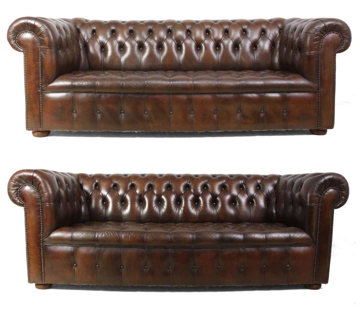 vintage brown leather chesterfield sofas set of 2 for. Black Bedroom Furniture Sets. Home Design Ideas