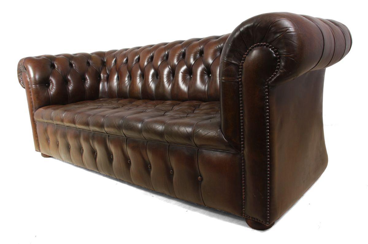 braune vintage chesterfield leder sofas 2er set bei