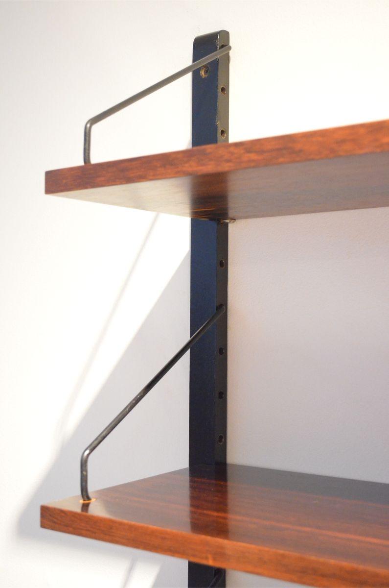 mid century regalsystem aus palisander furnier und metall von poul cadovius f r royal system bei. Black Bedroom Furniture Sets. Home Design Ideas