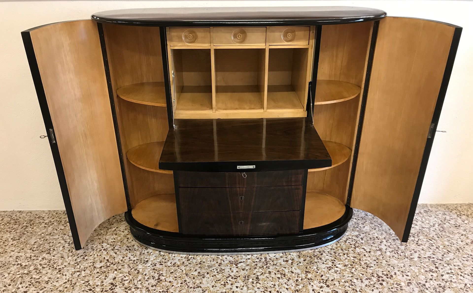 Rosewood secretary or cabinet 1940s for sale at pamono for 1940s kitchen cabinets for sale